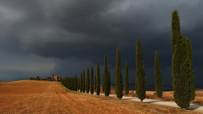 road, landscape, storm, Italy, field, clouds, nature, house, hill, trees