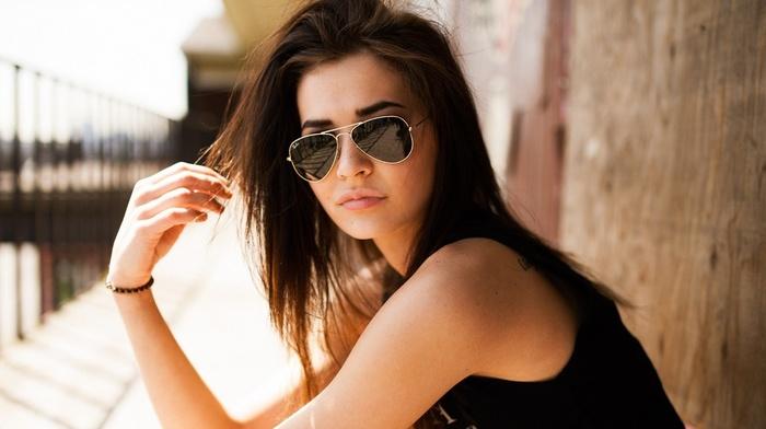 tank top, sunlight, long hair, tattoo, model, brunette, girl, girl outdoors, Black clothes, walls, sunglasses