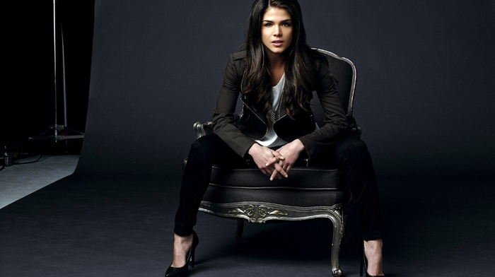 open mouth, high heels, chair, brunette, sitting, studios, girl, looking at viewer, model, long hair, actress, Marie Avgeropoulos, Black clothes