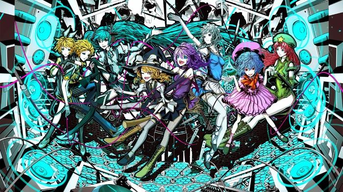 Hatsune Miku, Kagamine Rin, touhou, anime girls, Vocaloid, Kagamine Len