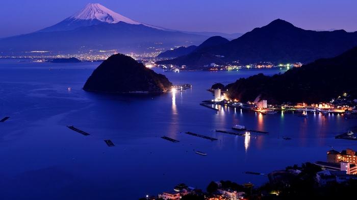bay, Japan, building, reflection, sea, water, snow, dock, Mount Fuji, mountain, cityscape, landscape, lights, evening, boat, hill, island, ship