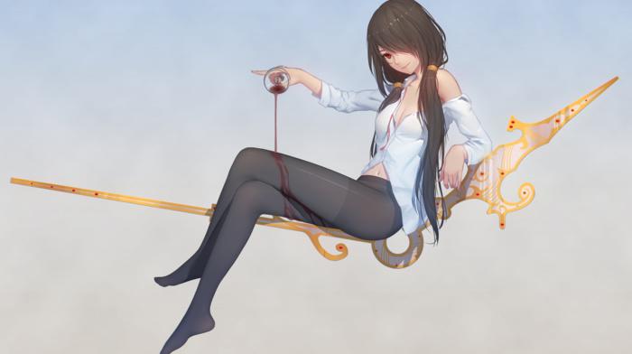Date A Live, wine, Tokisaki Kurumi, clocks, anime, anime girls