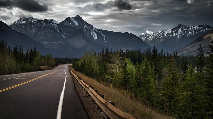 landscape, rock, forest, road, clouds, mountain, storm