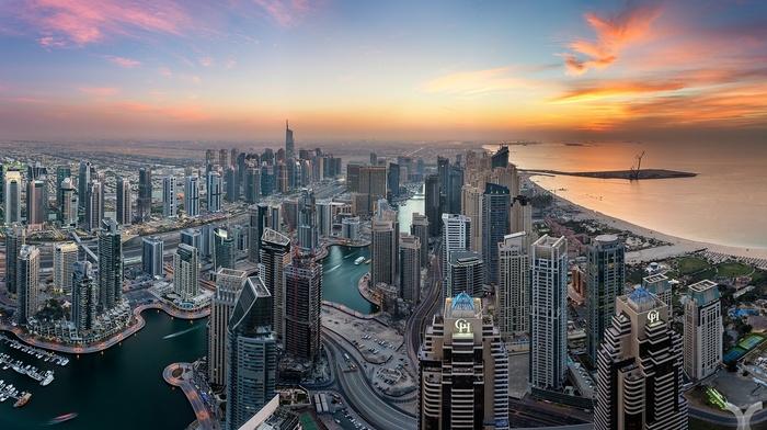 city, United Arab Emirates, Dubai, sunset, skyscraper, cityscape