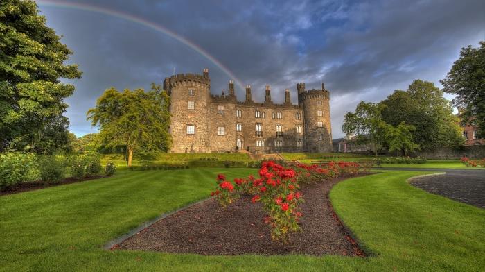 old building, architecture, trees, path, garden, Ireland, rainbows, landscape, grass, park, clouds, castle, nature, flowers