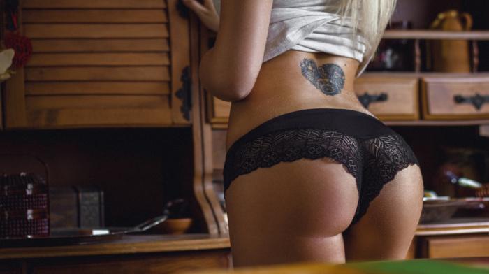 thighs, black panties, panties, blonde, model, girl, ass, tattoo