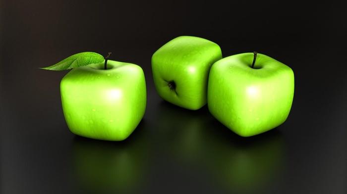 minimalism, green, simple background, cube, reflection, digital art, apples, 3D