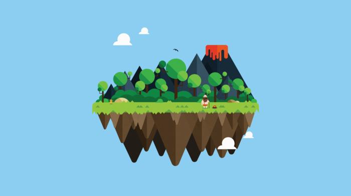 vulcano, minimalism, lava, island, Adobe Illustrator, floating island, monkeys