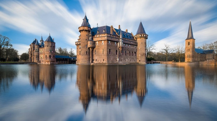 clouds, landscape, castle, reflection, nature, tower, trees, architecture, lights, bridge, long exposure, water
