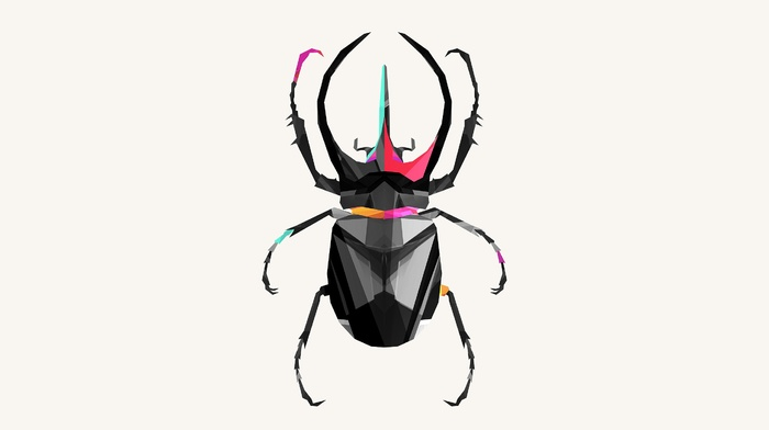 digital art, low poly, CGI, Justin Maller, white background, insect