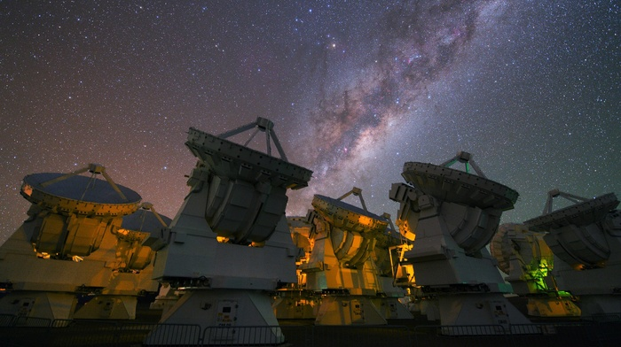 nature, technology, fence, lights, Milky Way, satellite, stars