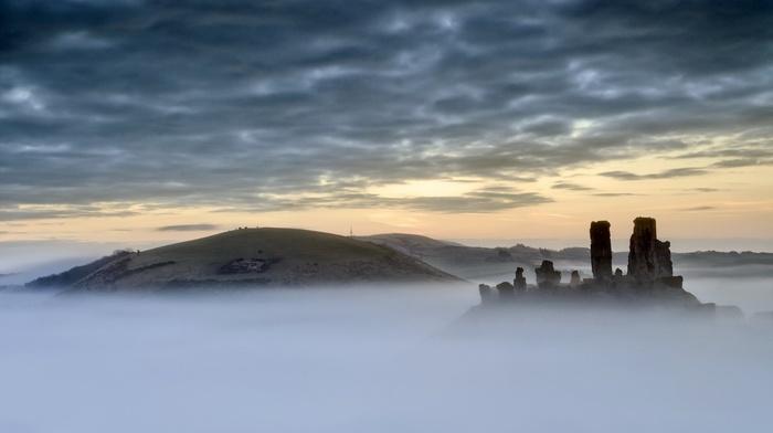 landscape, castle, trees, clouds, England, hill, ruin, architecture, mist, UK, nature
