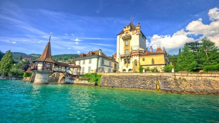 castle, nature, landscape, architecture, trees, lake, water, clouds, Switzerland