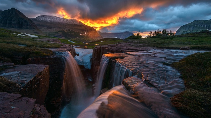 landscape, Glacier National Park, USA, grass, rock, mountain, trees, snow, Montana, waterfall, sunset, nature, hill, long exposure, clouds, ice
