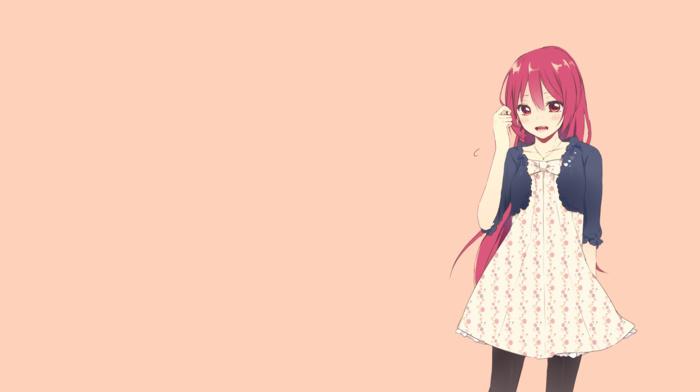 free, anime, Matsuoka Gou, red eyes, simple background, open mouth, ponytail, blushing, anime girls, dress, redhead, brown background, long hair, pantyhose