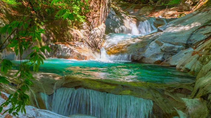 foliage, river, waterfall, landscape, nature
