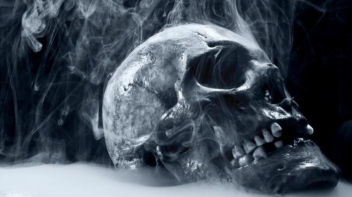 skull, teeth, smoke, simple background, shiny, digital art
