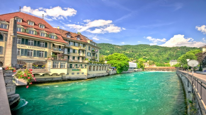 Switzerland, landscape, hotels, nature, river, hill, trees, water, forest, clouds, flowers, summer