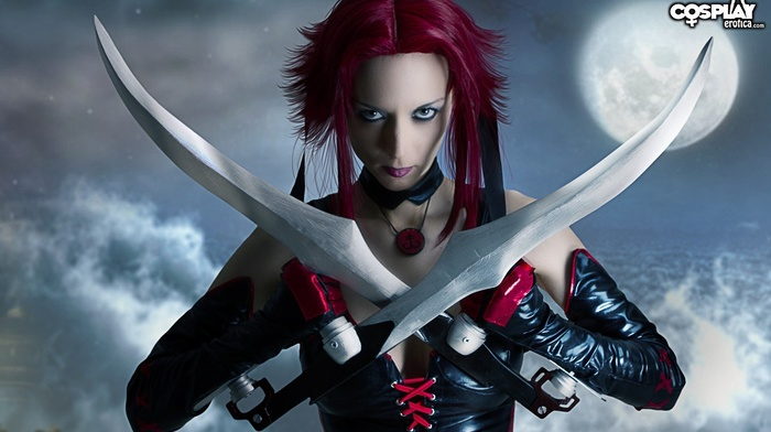 leather clothing, girl, sword, leather pants, cosplay, BloodRayne, leather vest, moon, redhead