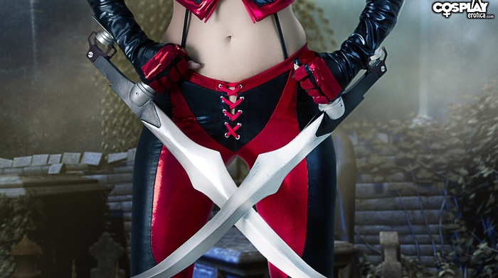 leather pants, leather vest, sword, girl, leather clothing, cosplay, BloodRayne