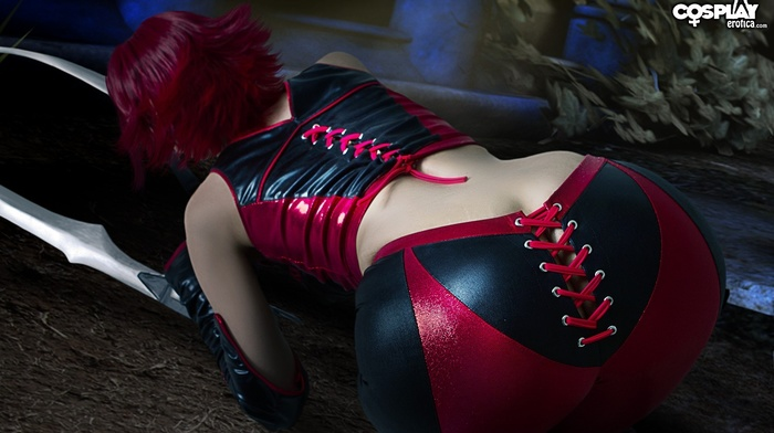 sword, BloodRayne, cosplay, redhead, leather clothing, girl, leather vest, leather pants