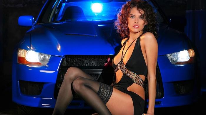 rims, Mitsubishi, black stockings, girl, brunette, car, black clothing