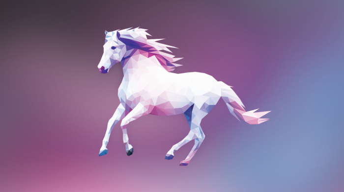 minimalism, horse, colorful, simple, digital art, low poly