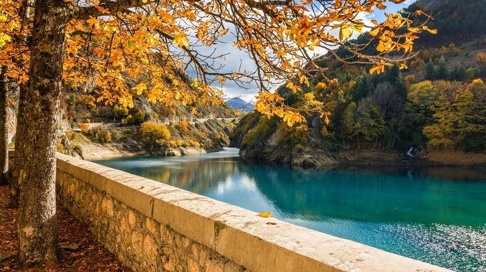 water, nature, yellow, leaves, landscape, trees, mountain, walls, turquoise, river, fall