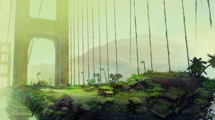ruin, gates, palm trees, abandoned, car, trees, digital art, apocalyptic, wreck