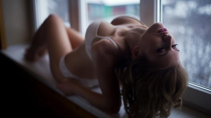 lingerie, bra, model, boobs, window, white lingerie, depth of field, indoors, long hair, girl, closed eyes, panties, blonde