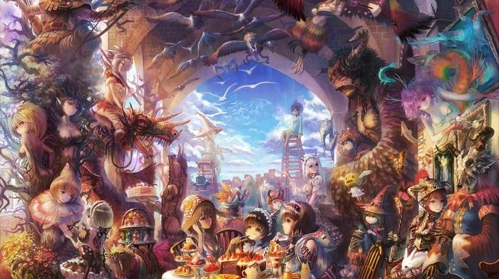 creature, colorful, soft shading, anime girls, detailed, fantasy art