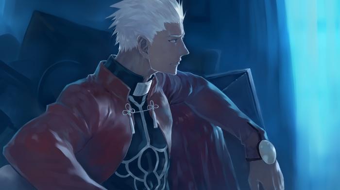 Archer FateStay Night, FateStay Night, anime, men, drawing, leather jackets