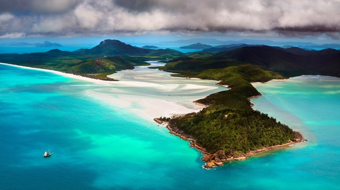 nature, sailboats, beach, turquoise, clouds, island, Australia, water, landscape, mountain, sea, sand, aerial view, forest