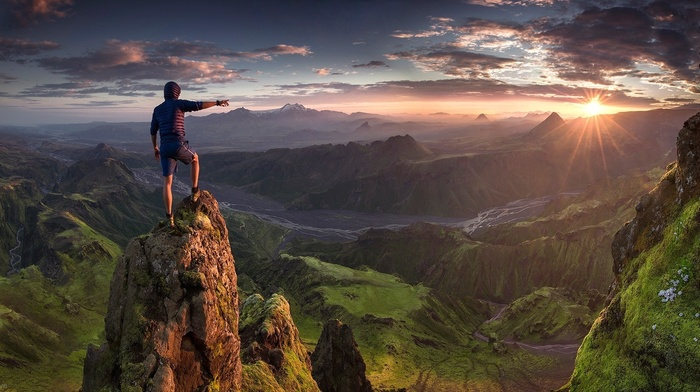 hiking, clouds, Max Rive, grass, valley, sunrise, nature, Iceland, mountain, landscape, panoramas, river