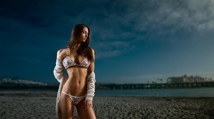 filter, beach, bikini, sea, model, girl, brunette