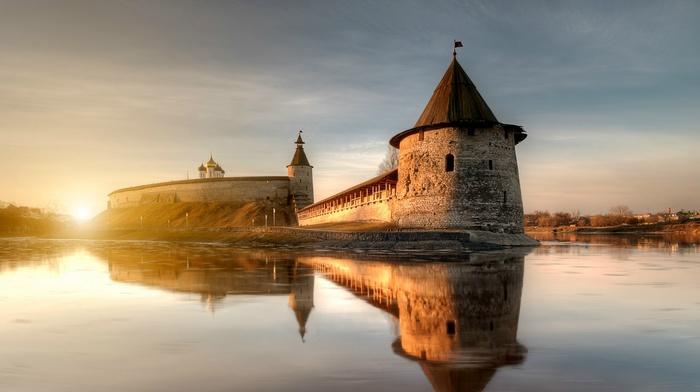 architecture, tower, castle, hill, lake, clouds, Russia, nature, bricks, Sun, water, landscape, trees