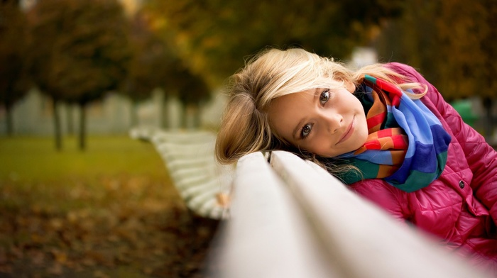 blonde, depth of field, looking at viewer, fall, scarf, face, trees, bench, girl outdoors, park, girl, smiling