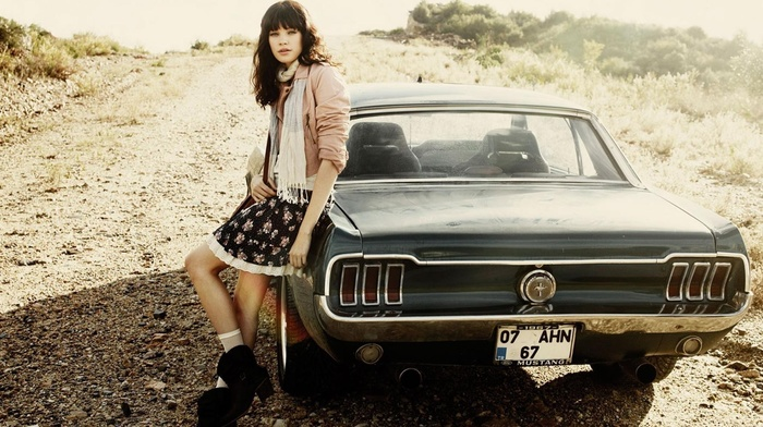 brunette, Turkey, Ford Mustang, girl outdoors, girl with cars, skirt, Antalya, car, girl, Ford, bangs, scarf, muscle cars, path, legs