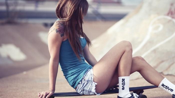 girl, short shorts, booty shorts, tattoo, jean shorts, brunette, Teravena Sugimoto, girl outdoors, skateboarding