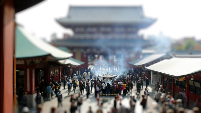 building, Asakusa, tilt shift, old building, architecture, Asian architecture, Japan