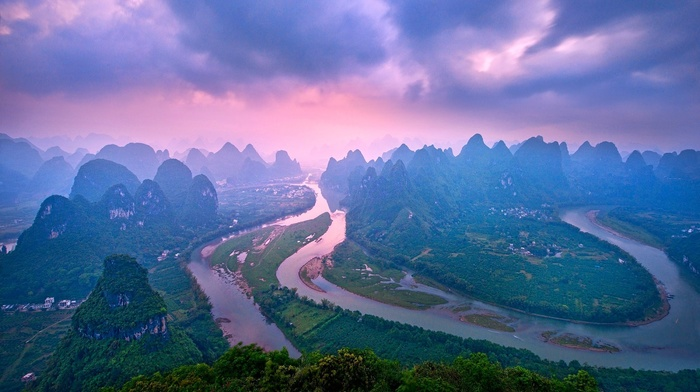 river, nature, mountain, China, landscape, clouds, sunset, forest, green, town, panoramas