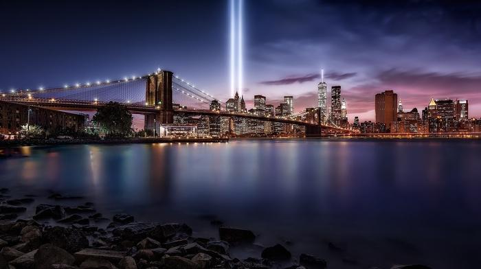 Brooklyn Bridge, Never Forget, cityscape, New York City, landscape, artificial lights, river, skyscraper, night, water, building