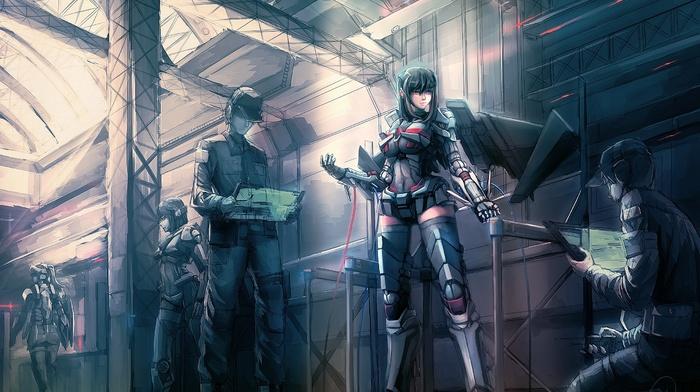 anime, weapon, anime girls, armor, short hair, suits, long hair, futuristic