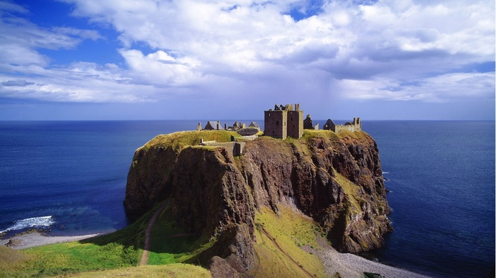 Scotland, UK, landscape, horizon, grass, castle, cliff, nature, sea, rock, coast, clouds, architecture, ruin