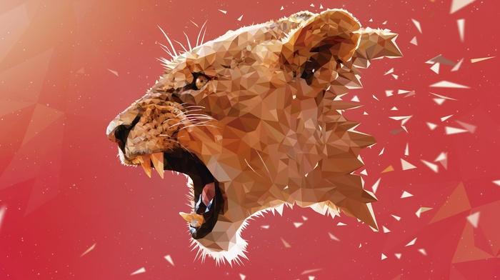 artwork, digital art, low poly, Adobe Illustrator, geometry, animals, lion, pink