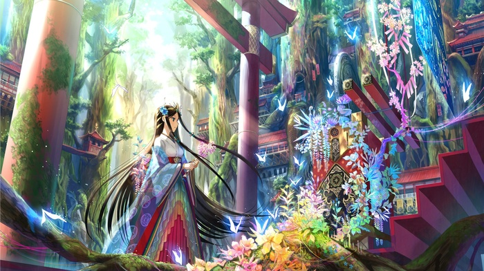 straight h, kimono, forest, nature, trees, hair ornament, butterfly, Fuji Choko, Japanese clothes, flowers, miko, black hair, long hair, stairs, moss, sunlight, anime girls, torii, blue eyes, lotus flowers, tiaras, Asian architecture