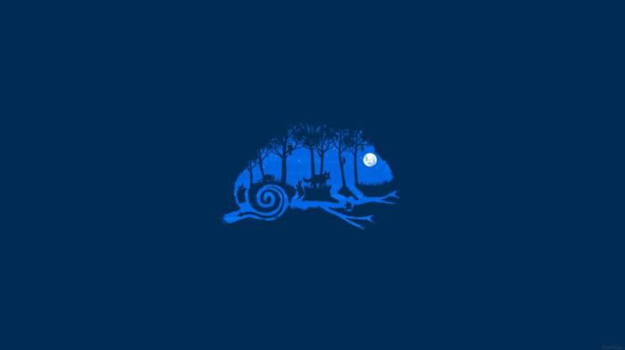 blue background, stars, moon, wolf, trees, eyes, frog, bats, grass, owl, silhouette, tail, branch, minimalism, chameleons, digital art, animals, rabbits, snake, imagination