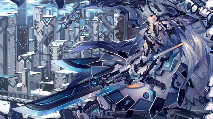 suits, anime, futuristic, sword, city, long hair, weapon, anime girls
