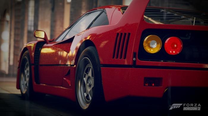 Forza Horizon 2, F40, Ferrari, red cars, car, vignette, Ferrari F40