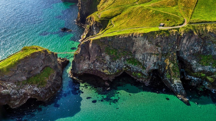 island, aerial view, nature, birds, grass, green, water, path, bridge, Ireland, sea, coast, landscape, cliff